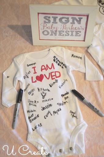 Baby Shower Onesie Sign In