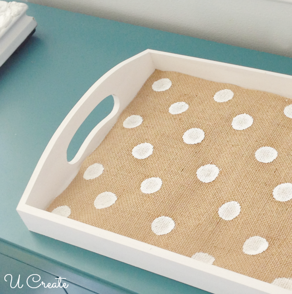 How to Make a Polka Dot Burlap Tray