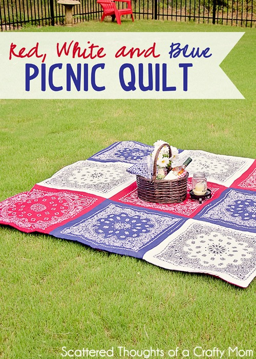 Bandanna Picnic Quilt Tutorial by Scattered Thoughts of a Crafty Mom