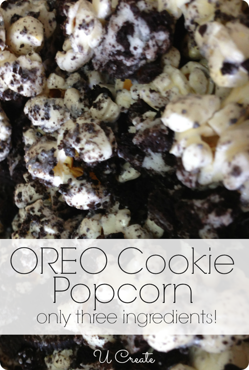 OREO Cookie Popcorn - Only THREE Ingredients!! u-createcrafts.com