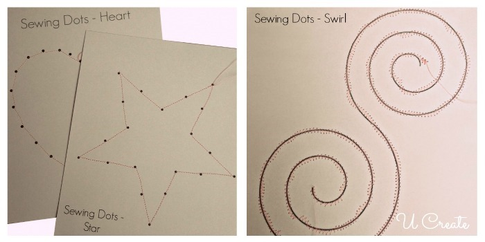 teaching kids sewing skills by tracing and doing dot-to-dots with the sewing machine!