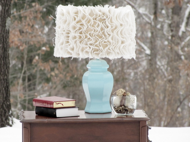 Ruffled Burlap Lampshade Tutorial by Mama Says Sew