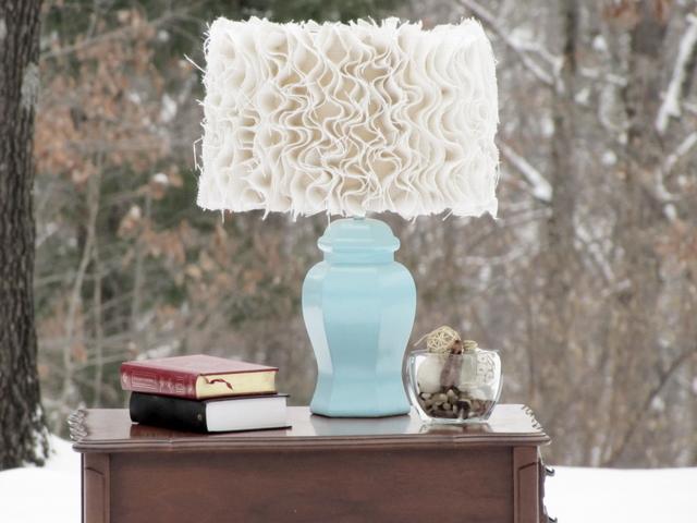 Ruffled Burlap Lampshade Tutorial by Mama Says Sew