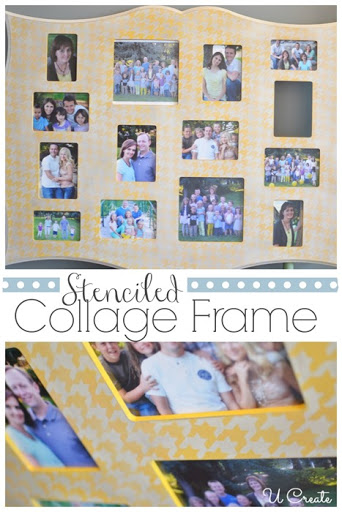 Stenciled Collage Picture Frame at u-createcrafts.com