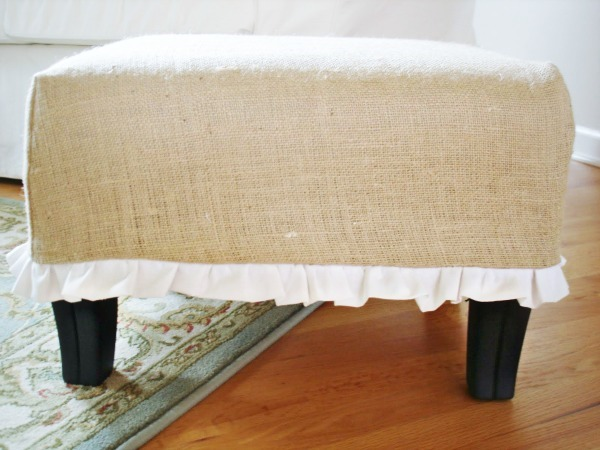 Burlap and Ruffle Ottoman Tutorial by Burlap + Blue