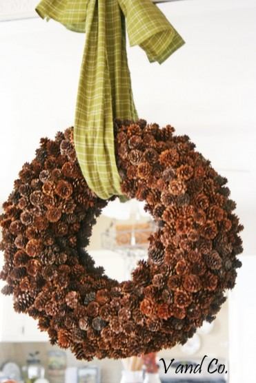 Pinecone Wreath Tutorial by V and Co
