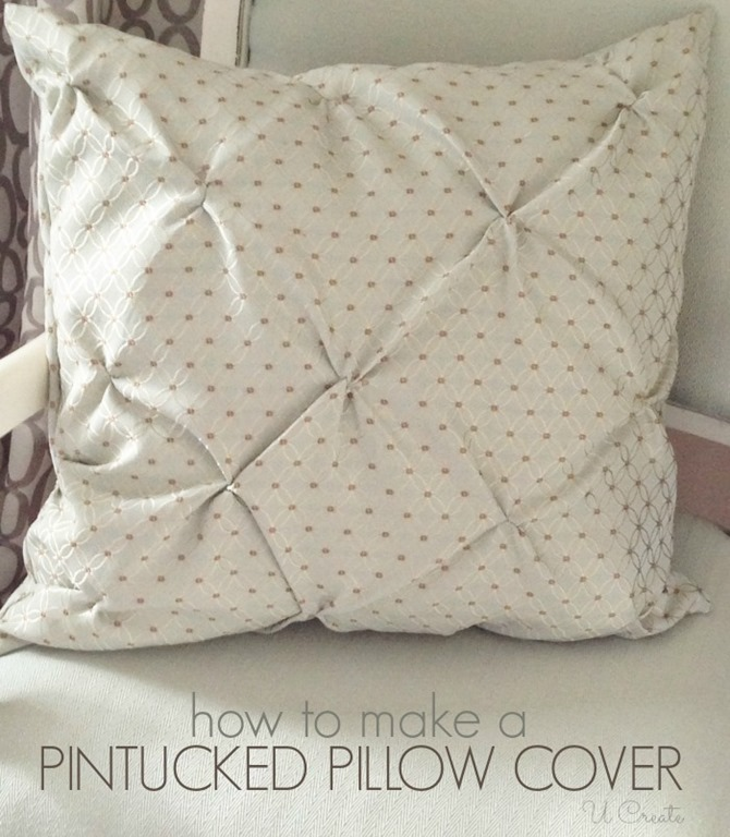 Pin Tucked Throw Pillow Tutorial U Create Inspiration How To Make Sofa Pillow Covers