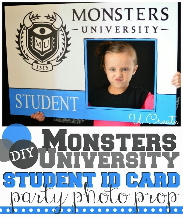 DIY Monsters University Student ID Card Photo prop at u-createcrafts.com