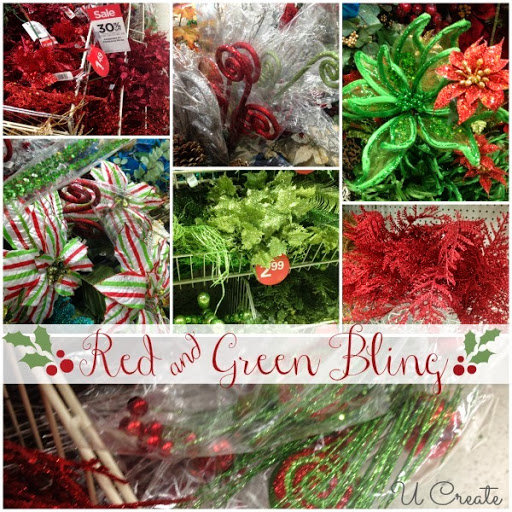 Red and Green Bling Michaels Craft Dream Tree Challenge