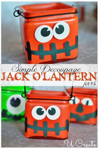 Simple Decoupage Jack O Lantern jars at U-createcrafts.com