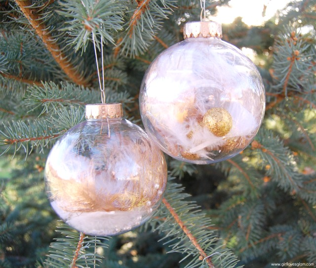Gold Dipped Feather DIY Ornament by Girl Loves Glam
