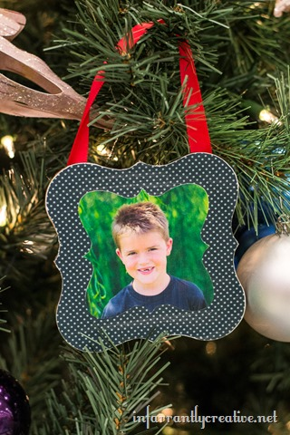 DIY Mod Podge Shaped Ornaments by Infarrantly Creative