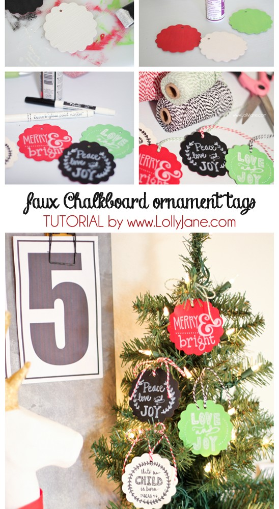 DIY Faux Chalkboard Ornaments by Lolly Jane