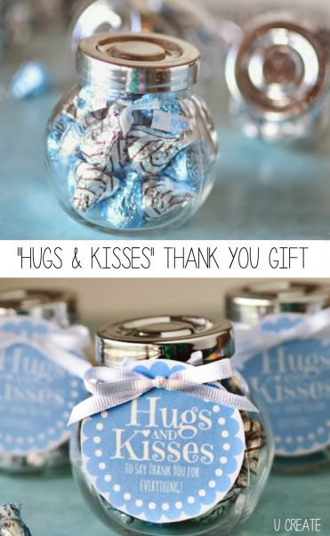 Hugs and Kisses Thank You Gift - free printable tags