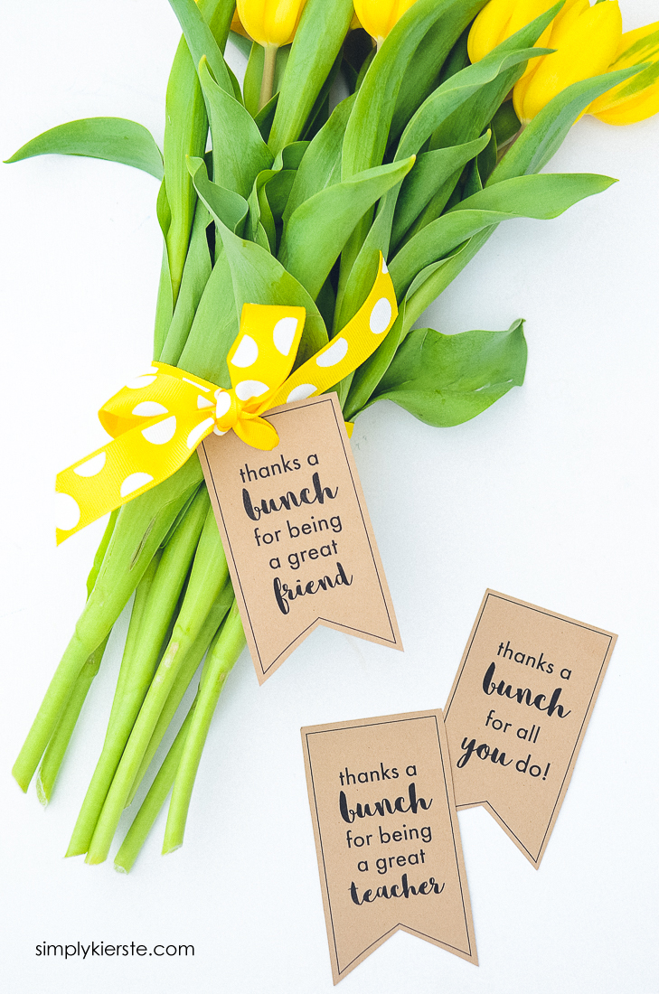 Thank You Gift ideas - tie a tag to favorite flowers for a simple, thoughtful gift!