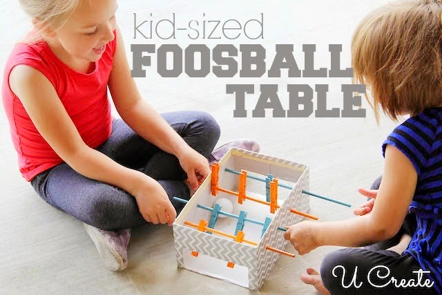 Mini Foosball Table using clothespins and ping pong ball! u-createcrafts.com