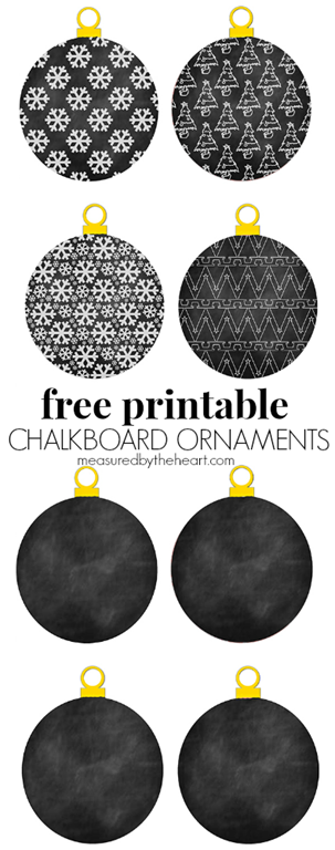Free Printable Chalkboard Ornaments by Measured by the Heart