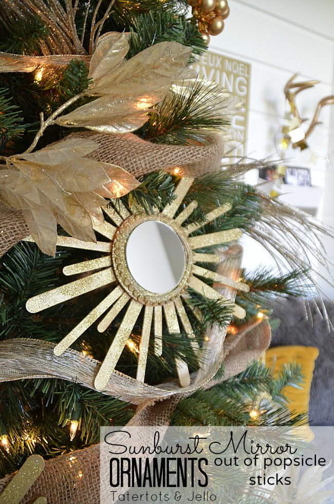 DIY Sunburst Mirror Ornaments by Tatertots and Jello