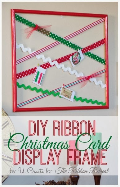 DIY Ribbon Christmas Card Display Frame