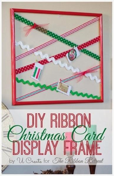 DIY Ribbon Christmas Card Display Frame