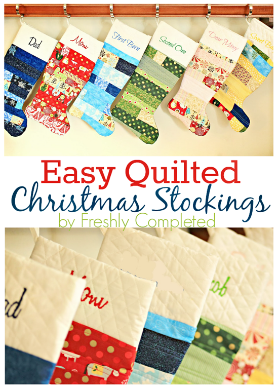 """Easy Quilted Christmas Stocking Tutorial"" Free Pattern designed by Allison from Freshly Completed brought to you by U Create"