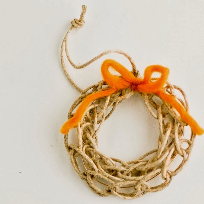 Finger Knit Wreath Ornament Tutorial by Flax and Twine