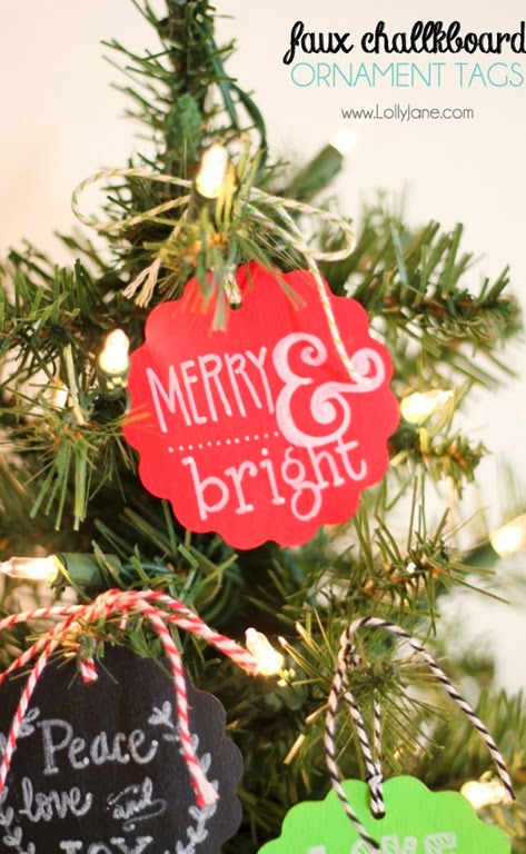 Faux Chalkboard Ornaments by Lolly Jane