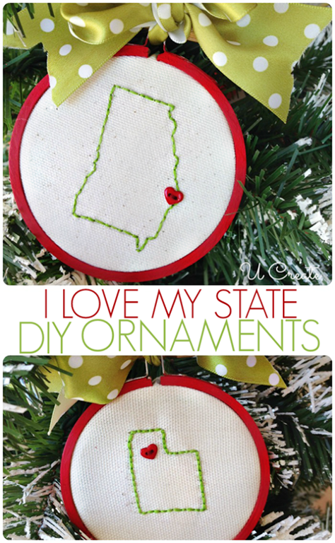 """I Love My State"" stitched ornaments by U Create"
