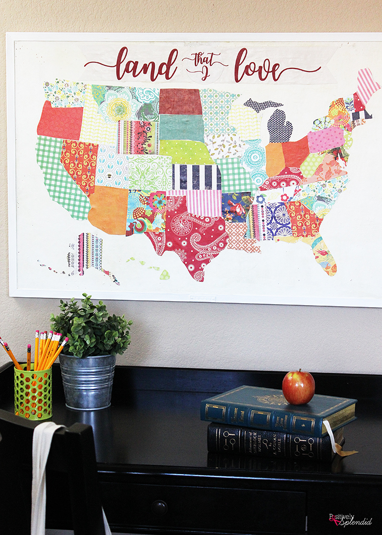 DIY US Map using mod podge and scrap paper