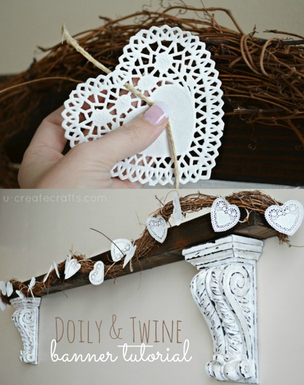 Grab a bag of doilies from the dollar section and string them with jute. Simple, pretty Vday decor!