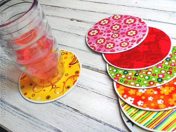 Recycle CD's into fun coasters!