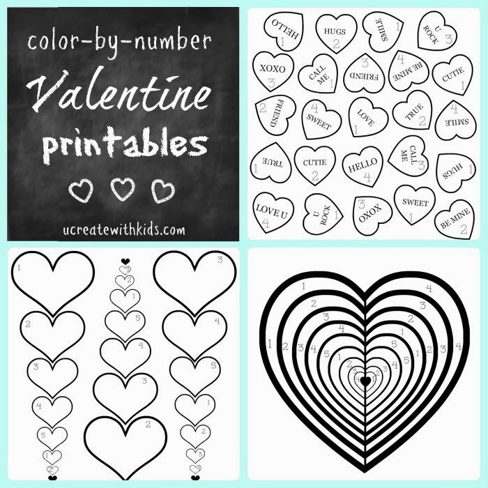 Color By Number Valentine Coloring Pages - free download by U Create!