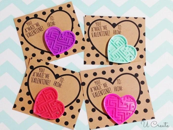 Maze Valentine Printables by U Create