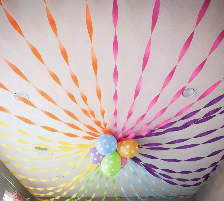 Party Ceiling Decor With Crepe Paper