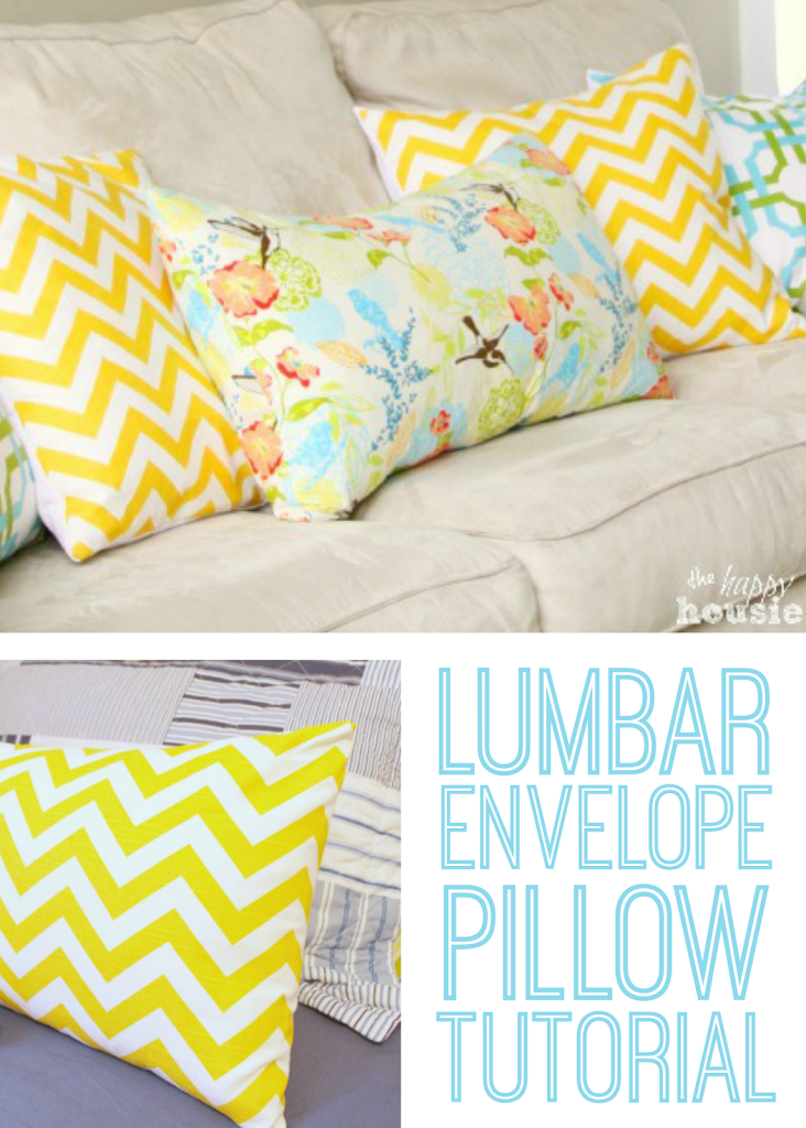 Lumbar Envelope Pillow Tutorial by The Happy Housie