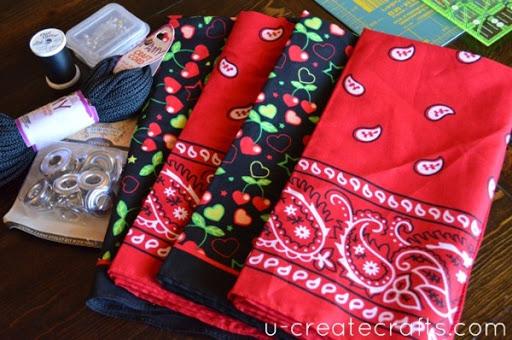 How to make a drawstring backpack using bandanas!