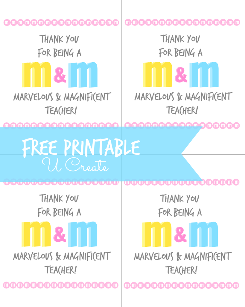 image about Free Printable Teacher Appreciation Tags named M M Trainer Appreciation Printable - U Produce