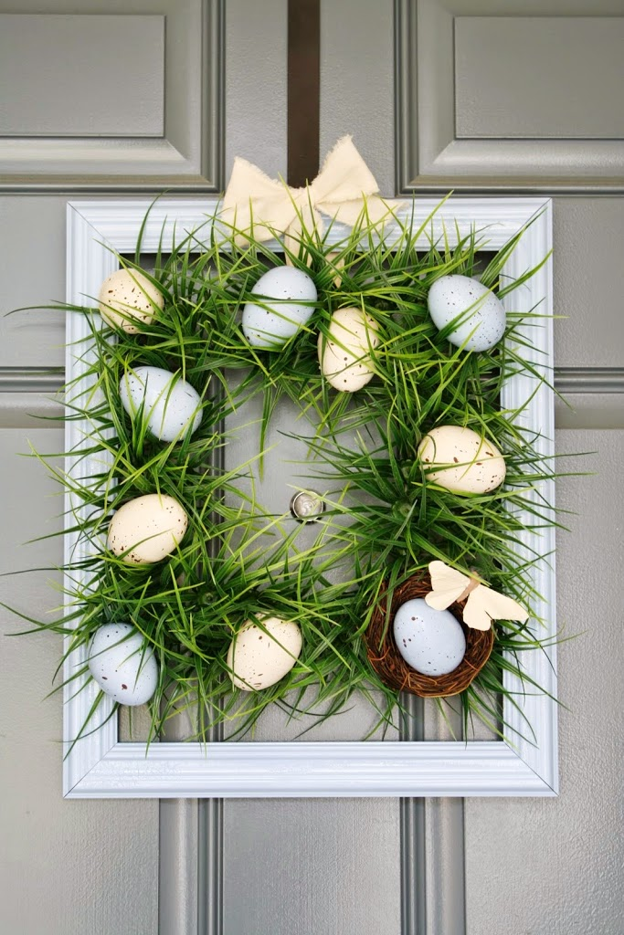 Square Easter Grass Wreath Tutorial by A Diamond in the Stuff