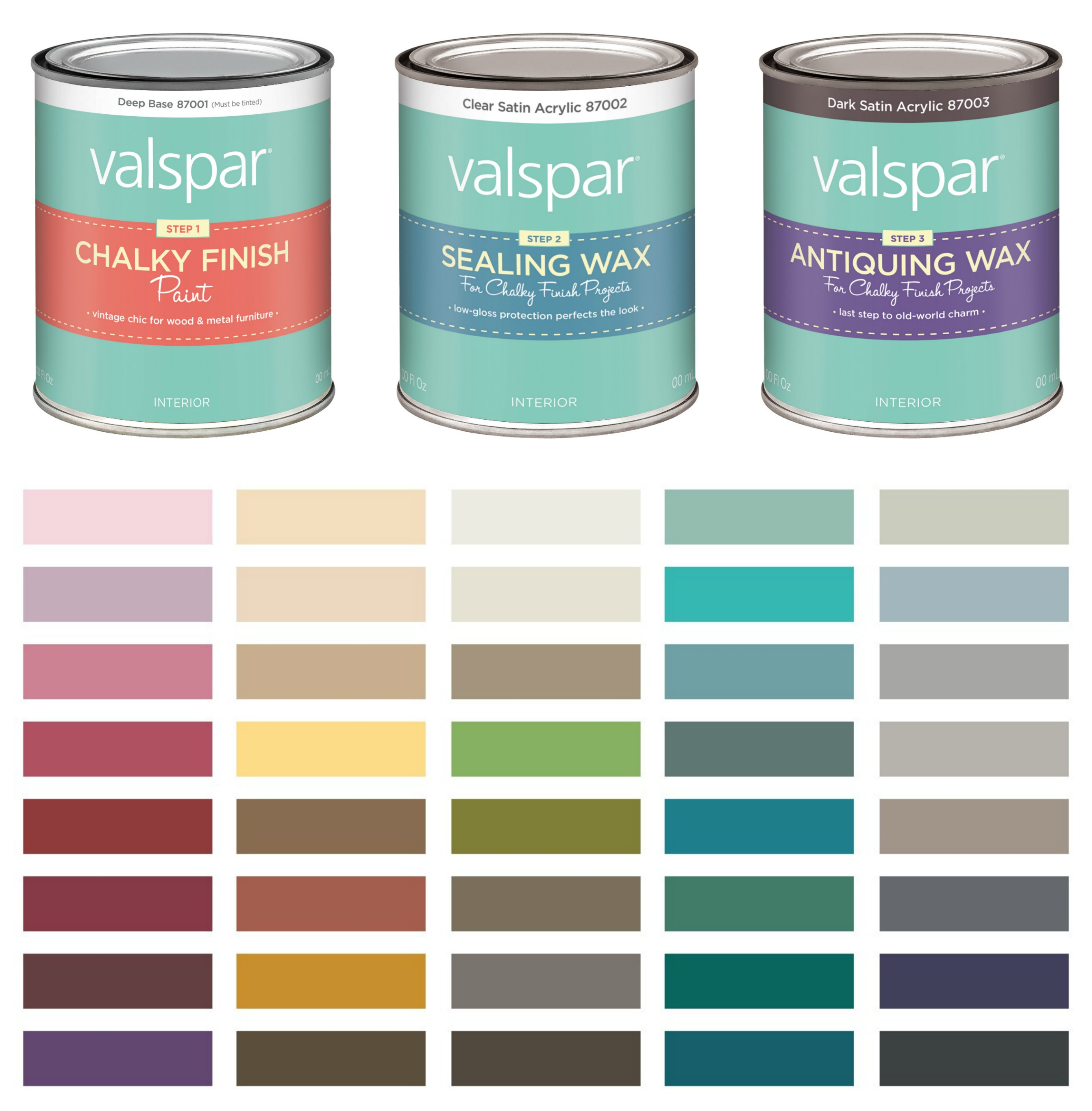 40 Color Valspar Chalky Finish Paint