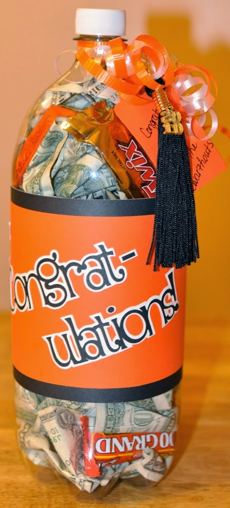 Money in a Bottle using the grads school colors!