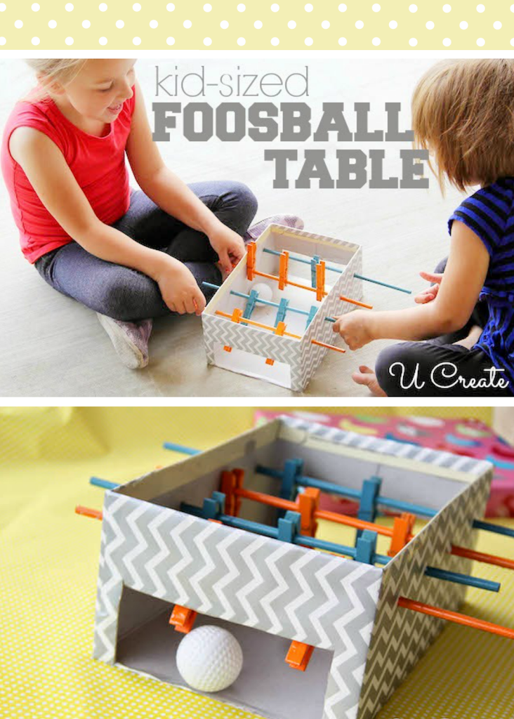 DIY Mini Foosball Table - using clothespins and a ping pong ball! u-createcrafts.com