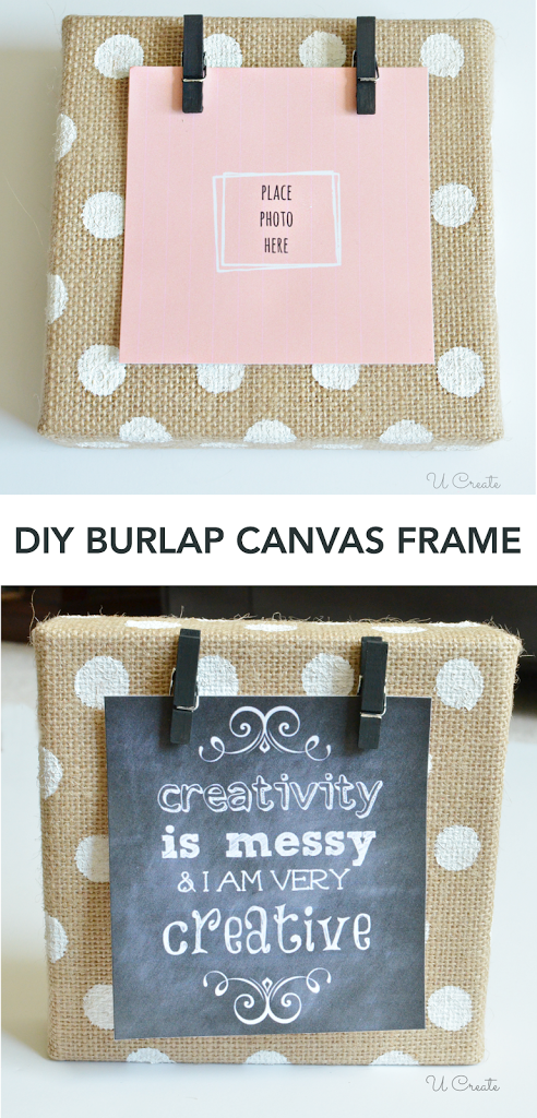 DIY Burlap Canvas Frame - with polkadots! - U Create