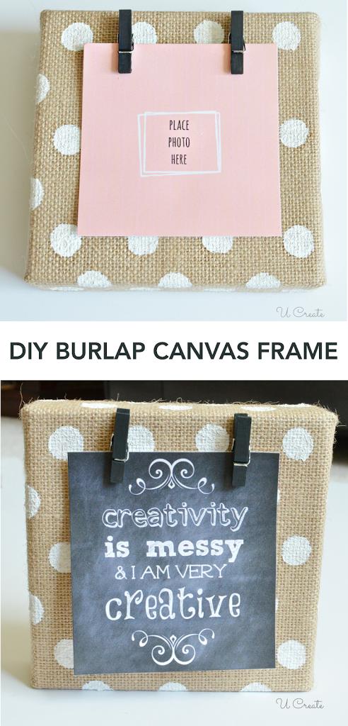 DIY Burlap Canvas Frame - with polkadots! - U Create
