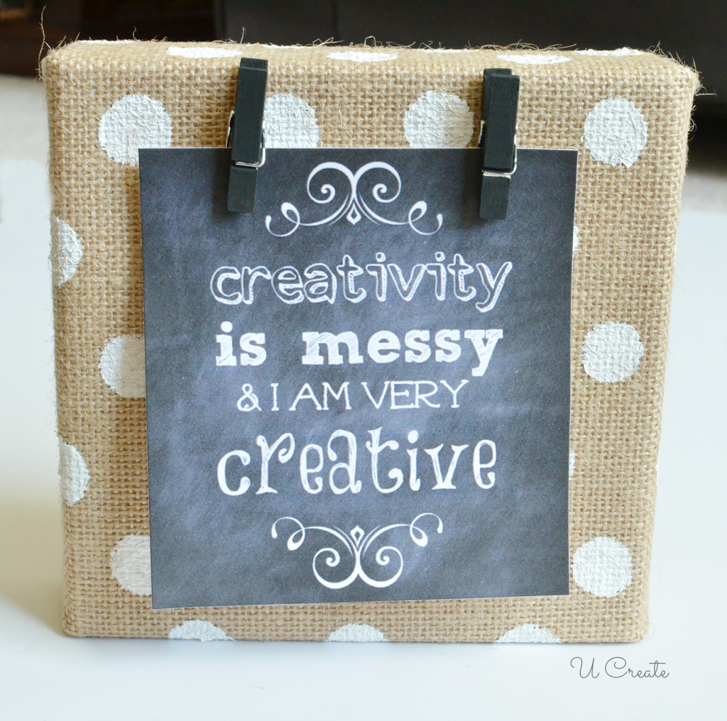 Diy Burlap Canvas Frame With Polkadots U Create