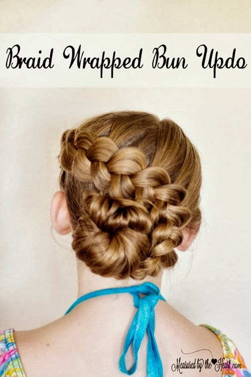 braid wrapped bun tutorial by Measured by the Heart - and other beautiful hair tutorials!