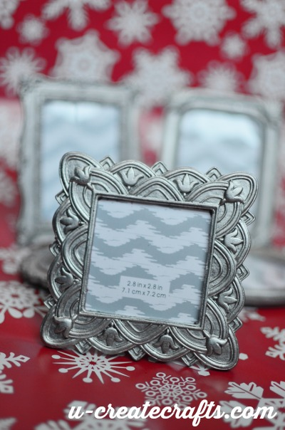 Silver painted Christmas frames