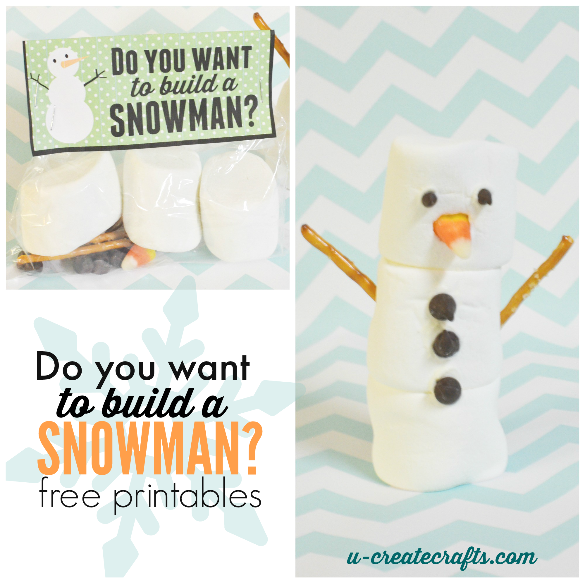 "mother's day photo collage idea - Free Printable ""Do You Want to Build a Snowman"" Craft Kits"