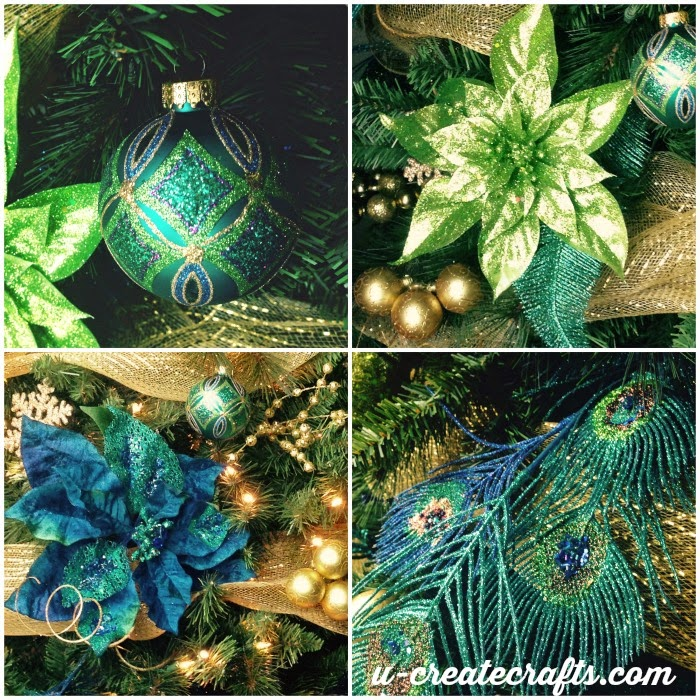 Michaels dream tree challenge peacock christmas tree for Michaels christmas tree ornaments