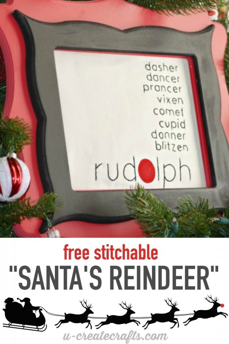 Free Stitchable: Santa's Reindeer by u-createcrafts.com