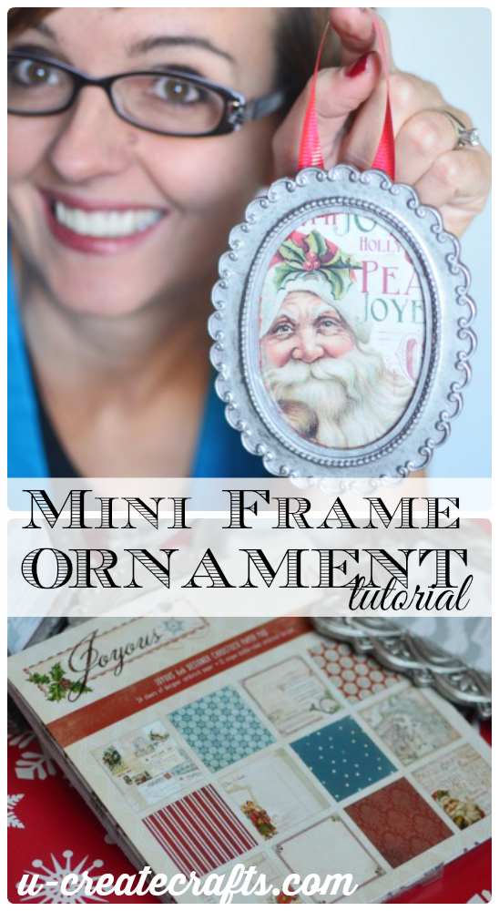 Mini Frame Ornament Tutorial at u-createcrafts.com